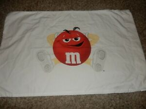 LN Vintage M&M'S RED Candy Character Pillow Case (Cotton Fabric) Novelty