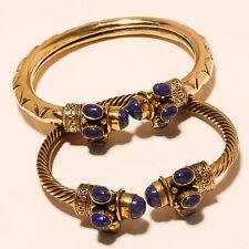 Solid Brass Bracelet Cuff Jewellery Sh3059 Lapis 2P 925 Tibetan Silver Vintage