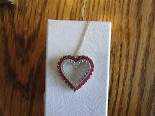 NIB HEART NECKLACE WITH GENUINE RUBIES & SAPPHIRES