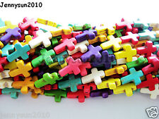 Cute Little Mix Color Howlite Turquoise Side Ways Crosses Beads 8mm x 10mm 16''