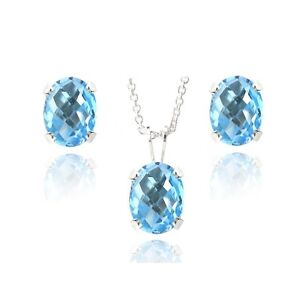 925 Silver 4.5ct Swiss Blue Topaz Oval Solitaire Necklace & Stud Earrings Set