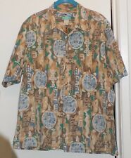 Reyn Spooner Beige Patterned 100% Cotton Hawaiian Shirt- Mens Size L