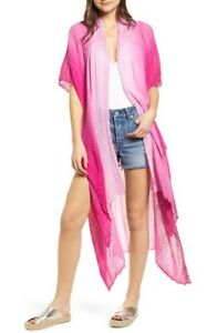 NWT $108 FREE PEOPLE Sz M L Angelica Dip Dye Smocked Kimono Duster Sweater Pink