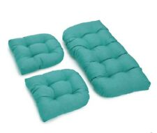 Outdoor All Weather 3pc Wicker Settee Chair CUSHION SET summer Blue Solid