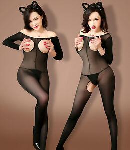 8951 Babydoll silk Bodysuits Lingerie Sheer Underwear BODY STOCKING Crotchless