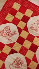 Handmade Quilted Wall Hanging or Table Topper featuring Redwork embr