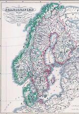 164 Jahre alte Landkarte SKANDINAVIEN (S-N-SF) Frieden von Friedrichshain 1854