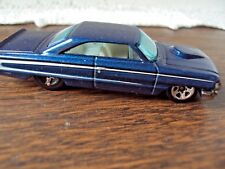 Hot Wheels Custom 1964 Ford Galaxie Blue WIth White Stripe 1/64 Scale Good Cond