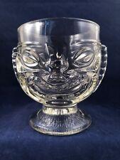 Tiki Bar Pressed Glass Pedestal Happy Sad Face Hawaiian Luau Footed Mug Cup Bowl