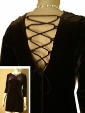 New VELVET PIXIE DRESS w LACE-UP BACK  sz 3-4 by L.A. GLO Made in USA Brown MINI