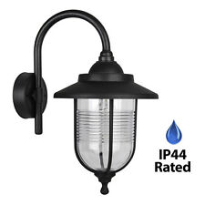 Traditional Black IP44 Outdoor Outside Fishermans Wall Lamp Lantern Light Lights