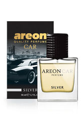 Areon Car Perfume 1.7 Fl Oz. (50ml) Glass Bottle Car Air Freshener Spray, Silver