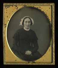 c1850 Daguerreotype Older Woman White Bonnet, Lace Collar, Wire Glasse, No Case