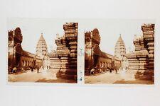 Paris Exposition coloniale 1931 Temple d'Angkor Photo Stéréo verre Positif