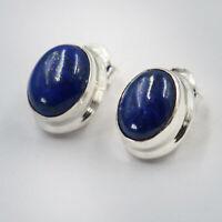 Lapis Lazuli Ohrstecker Silber 925 Ohrringe echt Sterlingsilber oval Blau ts