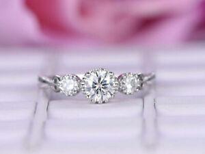 0.72Ct Round Cut Diamond Mil-grain Three-Stone Proposal Ring 14K White Gold Fn
