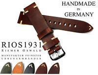 20mm handmade Germany RIOS1931 Retro Look Leather Watch Pilot Strap 20/18