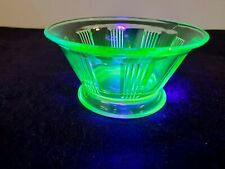 "Vintage 4"" small Ribbed Design DIP / DESSERT CUP Green Uranium Depression Glass"