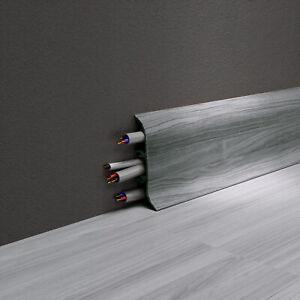 Sockelleisten Fußleisten Kabelkanal Laminatleisten 10-100m inkl. Montagematerial