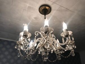 "RARE! Antique Czech Bohemia Clear Crystal 8 Arms Ceiling Chandelier 63"" D"