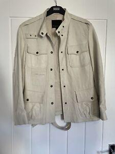 Mulberry Off White Colour Leather Jacket Size Uk 12