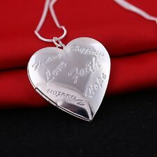 925 Sterling Silver Heart Shape Locket Necklace (Pendant + Chain) #008