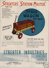 1947 PAPER AD Streater's Station Master Coaster Wagon Stake