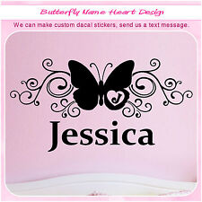Personalized Custom Monogram Initial Name Butterfly Wall Girl Sticker Decal 070
