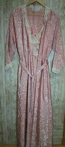 Vtg Christian Dior size P Peignoir Slip Set Long Nightgown Lace Pink Rose