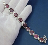SOLID 925 STERLING SILVER JEWELRY RUBY GEMSTONE PARTY WEAR BRACELET KB1033