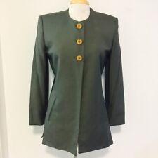 Vintage Christian Dior Womens Blazer Sz 6 Sage Green 3 Button Jacket Linen GG88