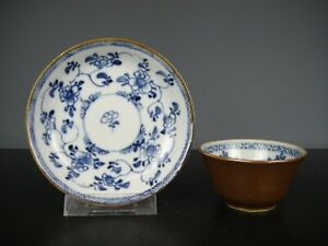 Beautiful Chinese Porcelain B/W Cup&Saucer-Flowers-18th C.