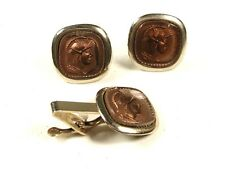 1930's - 50's Greek Warrior Pericles Silvertone Cufflinks Tie Clasp Unbranded