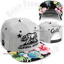 California CALI Bear Republic Baseball Cap Snap back Hats Flat Bill Embroidery
