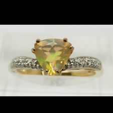 9ct Gold Trilliant Cut Opal And Diamond Ring Size M