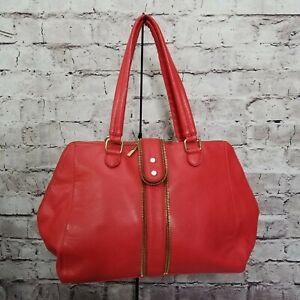 Olivia + Joy Red Melrose Double Handle Faux Leather Vegan Satchel Gold Hardware