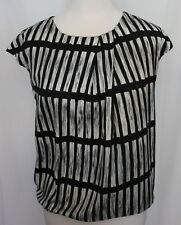 COUNTRY ROAD ~ Black White Grey Stripe Geometric Short Sleeve Silk Look Top M