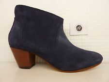 H by Hudson Kiver Navy Blue Suede Leather Sole Heel Ankle Boot Shoe