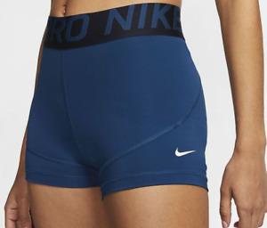 "Nike PRO 3"" Shorts Dri-Fit Women's Size Small Blue CZ6493-432"