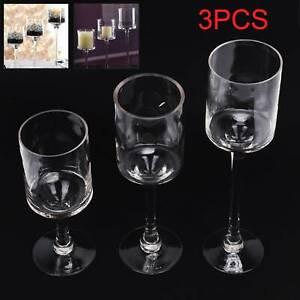 3X Elegant Stick Glass Tea Light Candle Holders Wedding Table Centrepiece Design