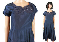 Vintage 40s 50s Cocktail Gown M L Dark Blue Lace Rhinestones Pearls Prom Dress