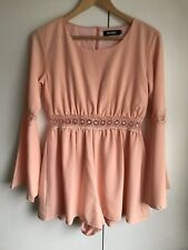 Missguided ladies peach color flute sleeve playsuit size 10 🍑