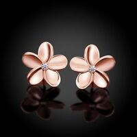 New Lovely Small Rose Flower Solid Gold Plated Crystal Ear Women's Stud Earrings