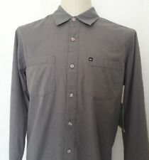 Quiksilver Men Casual Shirts Button Up Long Sleeve Gray Striped Medium $48 MSRp