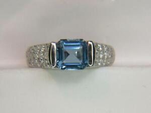 1.75CT VVS SANTA MARIA COLOR DARK AQUAMARINE .68CTW DIAMOND PLATINUM RING