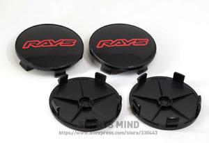4pcs 68mm Rays Logo Wheel Center Caps Hubcaps Rim Caps Badges Black Red