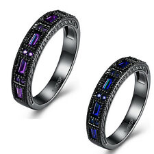 Purple Blue Crystal Ring Black plated Band Rhinestone Jewelry Zircon Ladies Girl