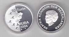 ARUBA - SILVER PROOF 10 FLORIN COIN 2004 YEAR KM#30 FROG + BOX + COA