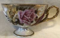 Beautiful Vintage Ucagco Cup Ceramics Japan Red And Yellow Roses With Gold Trim
