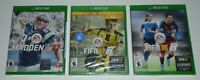 FIFA 17: Deluxe Edition, Madden 17, FIFA 16 LOT of 3 (Xbox One, 2016) BRAND NEW